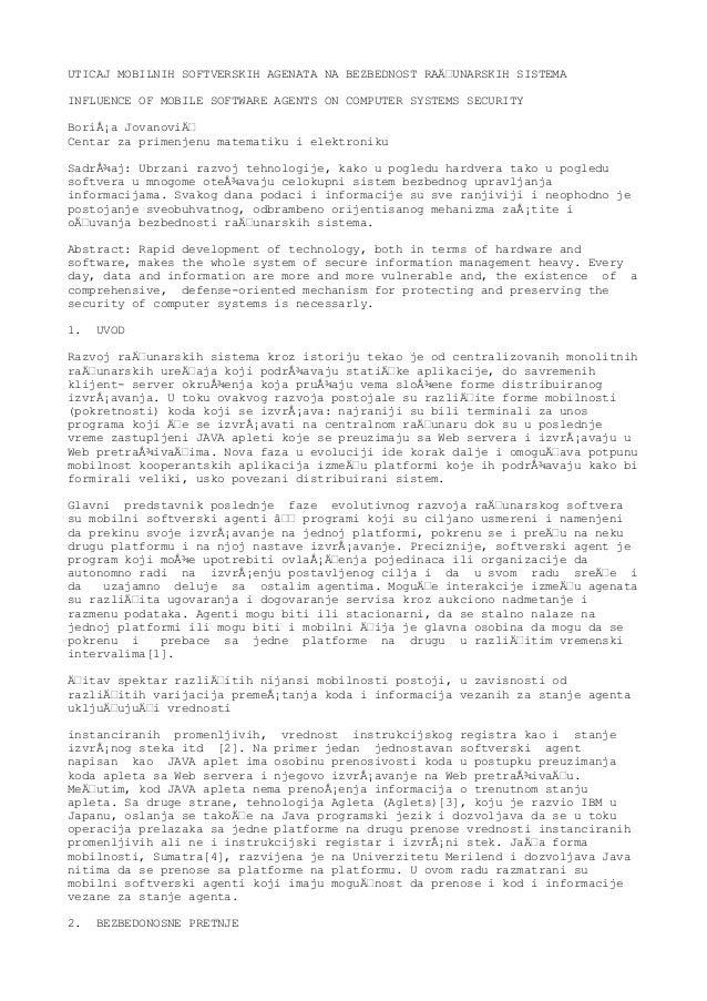 UTICAJ MOBILNIH SOFTVERSKIH AGENATA NA BEZBEDNOST RAČUNARSKIH SISTEMAINFLUENCE OF MOBILE SOFTWARE AGENTS ON COMPUTER SYST...