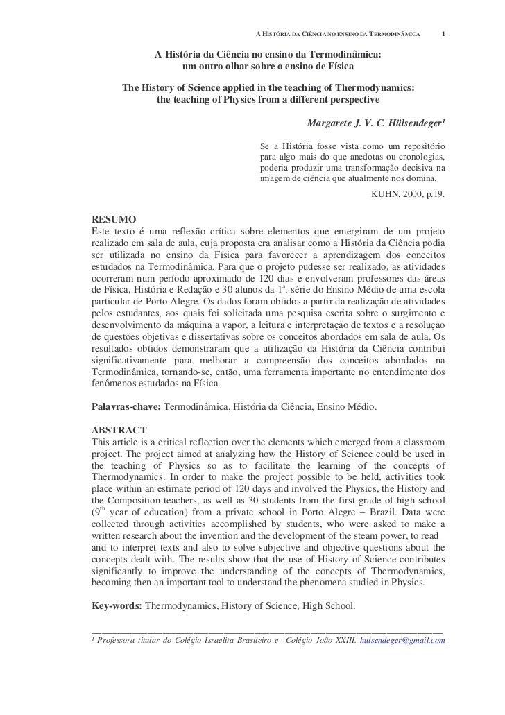 A HISTÓRIA DA CIÊNCIA NO ENSINO DA TERMODINÂMICA   1                 A História da Ciência no ensino da Termodinâmica:    ...