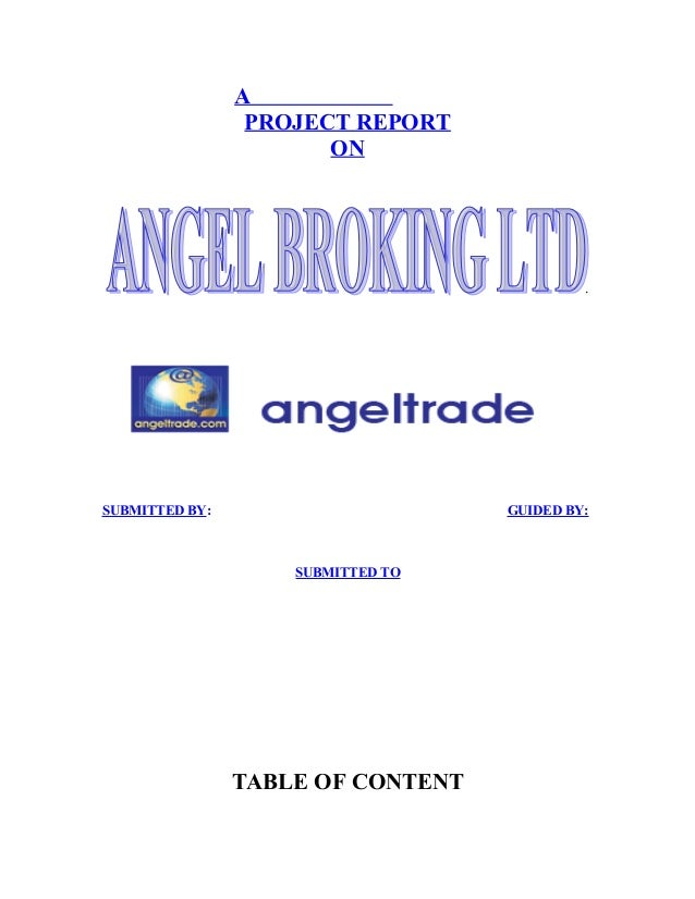 A project report on angle broking