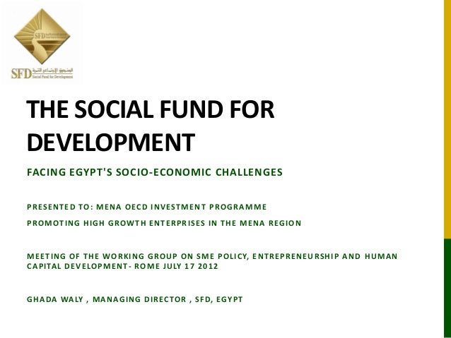 THE SOCIAL FUND FOR DEVELOPMENT FACING EGYPT'S SOCIO-ECONOMIC CHALLENGES PRESENTED TO: MENA OECD INVESTMENT PROGRAMME PROM...