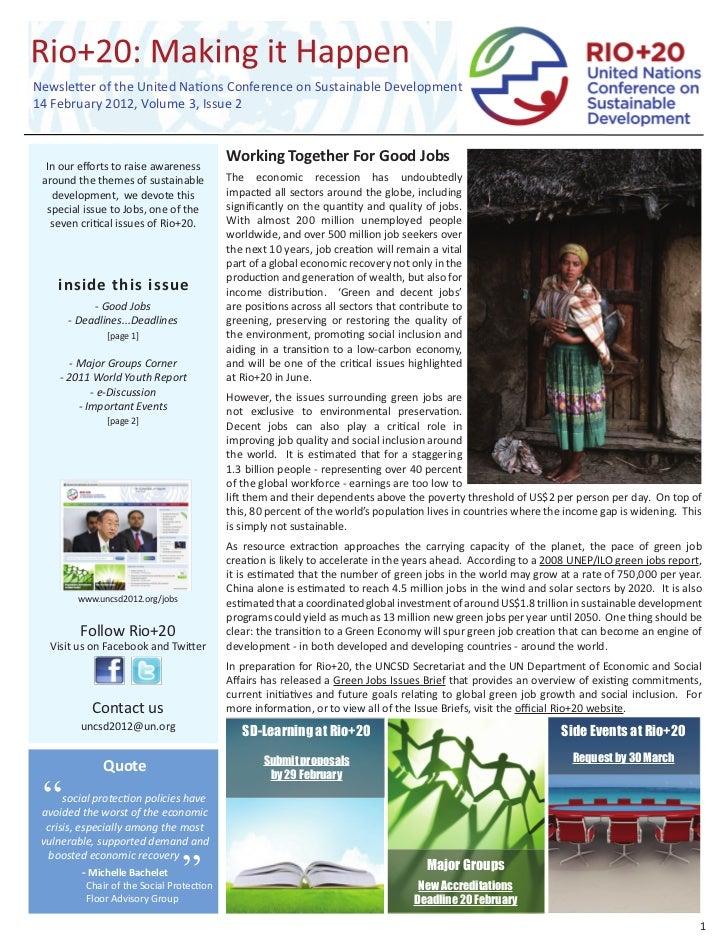 Department of Economic and Social Affairs (UN DESA) Rio+20: Making it Happen, Volume 3, Issue 2, 14 February 2012