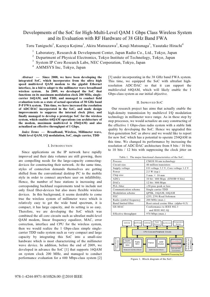 Developments of the SoC for High-Multi-Level QAM 1 Gbps Class Wireless System               and its Evaluation with RF Har...