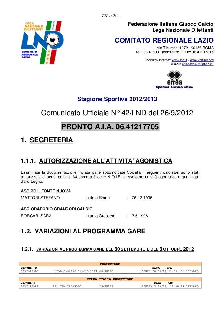 - CRL 42/1 -                                                                Federazione Italiana Giuoco Calcio            ...