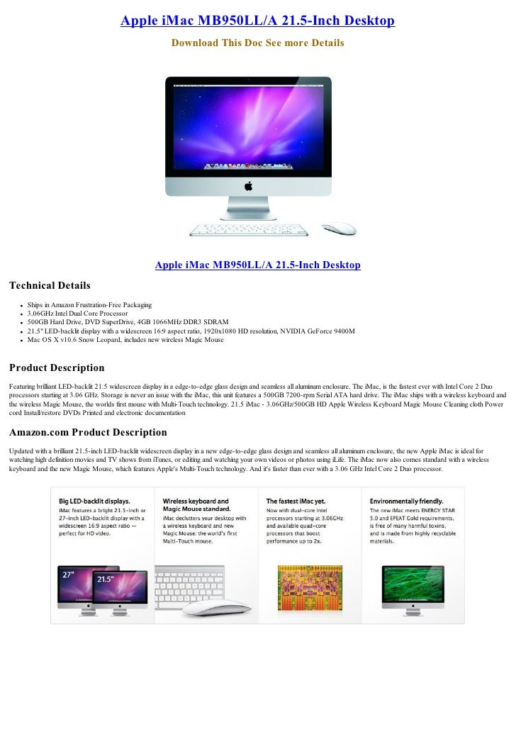 Apple iMac MB950LL/A 21.5-Inch Desktop                                                          Download This Doc See more...