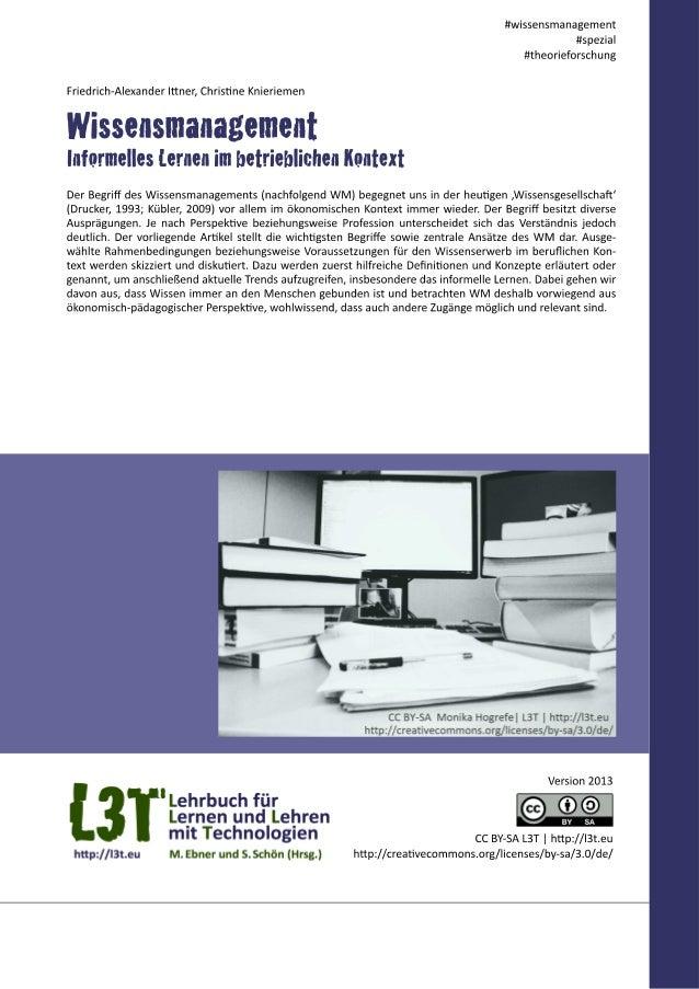 Wissensmanagement - Informelles Lernen im betrieblichen Kontext