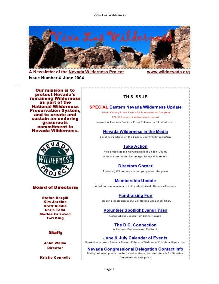 Viva Las WildernessA Newsletter of the Nevada Wilderness Project                               www.wildnevada.orgIssue Num...