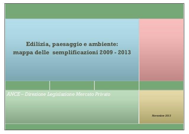 Edilizia, paesaggio e ambiente: mappa delle semplificazioni 2009 - 2013  ANCE – Direzione Legislazione Mercato Privato  No...