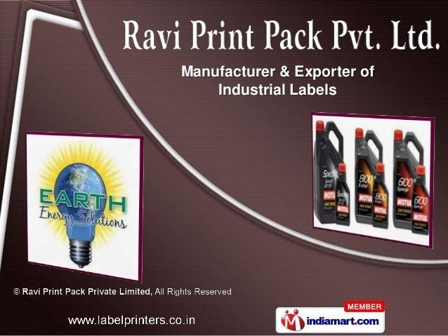 Manufacturer & Exporter of    Industrial Labels