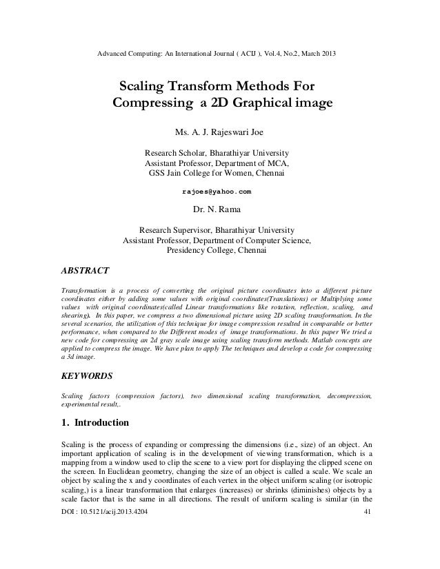 Scaling Transform Methods For Compressing a 2D Graphical image