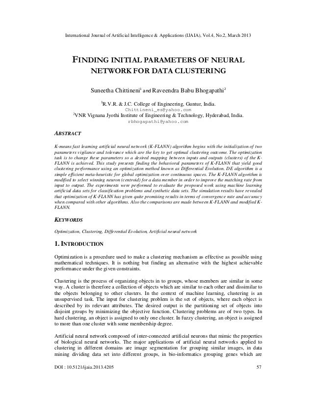 International Journal of Artificial Intelligence & Applications (IJAIA), Vol.4, No.2, March 2013         FINDING INITIAL P...