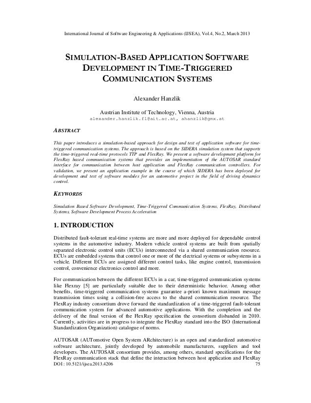 International Journal of Software Engineering & Applications (IJSEA), Vol.4, No.2, March 2013     SIMULATION-BASED APPLICA...