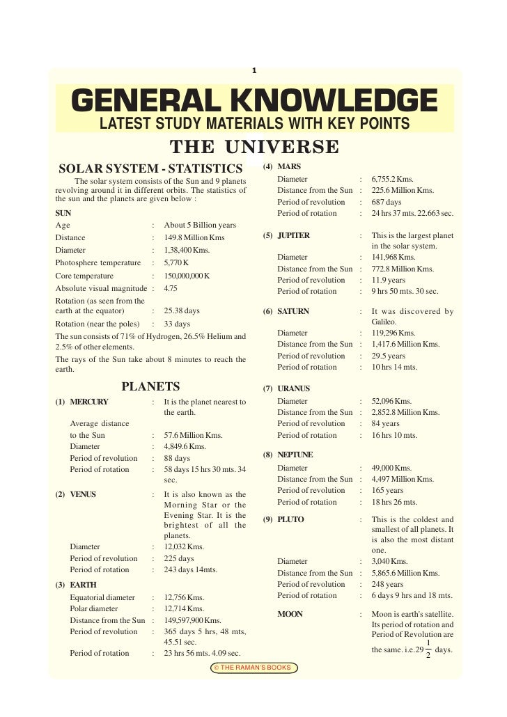 1    GENERAL KNOWLEDGE             LATEST STUDY MATERIALS WITH KEY POINTS                                  THE UNIVERSE SO...