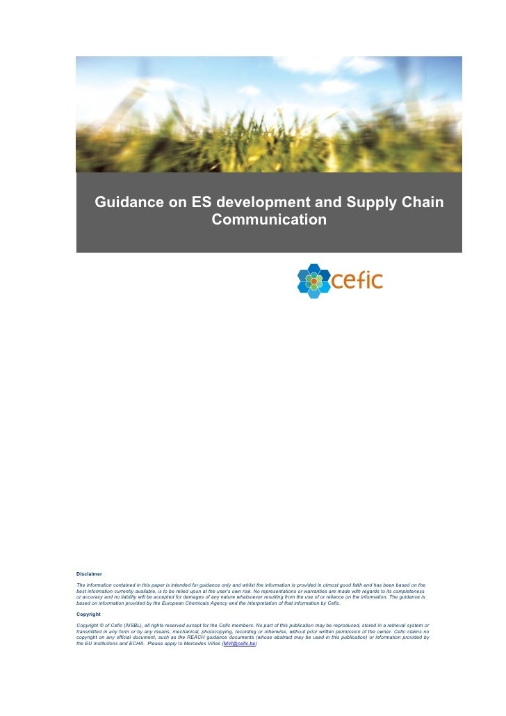 Guidance on ES development and Supply Chain                       Communication     Disclaimer  The information contained ...