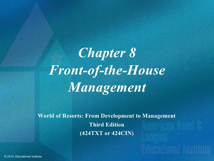Chapter 8                                Front-of-the-House                                   Management                  ...