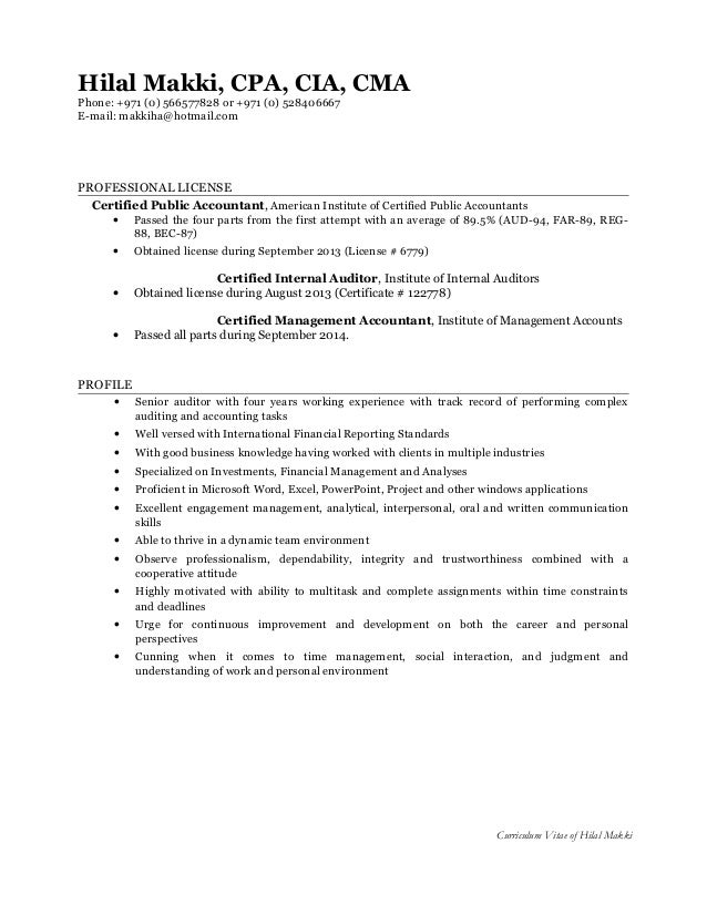 Cma Resumes Template