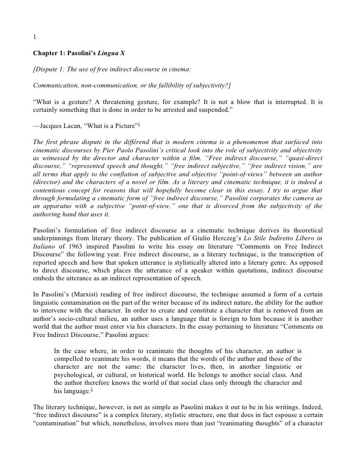 1  Chapter 1: Pasolini's Lingua X  [Dispute 1: The use of free indirect discourse in cinema:  Communication, non-communica...