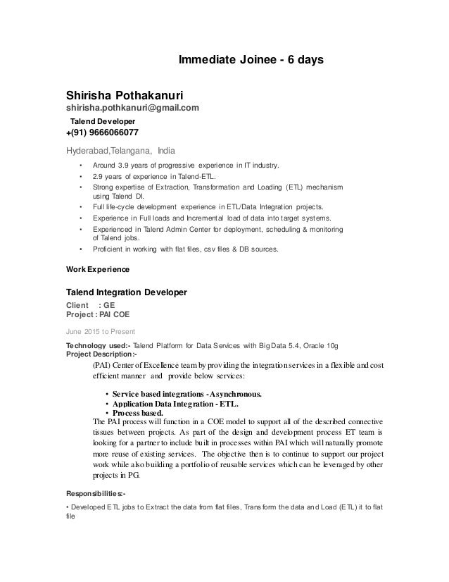 Talend developer resume