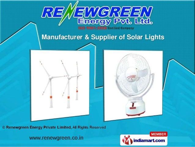 Manufacturer & Supplier of Solar Lights