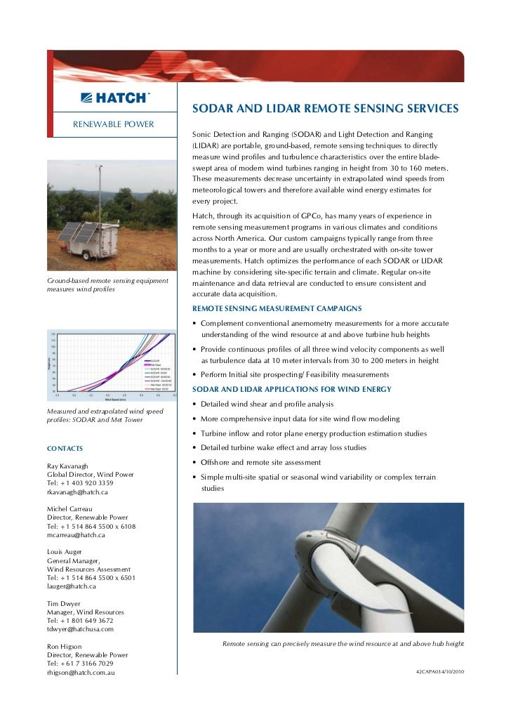 SODAR AND LIDAR REMOTE SENSING SERVICES        RENEWABLE POWER                                        Sonic Detection and ...