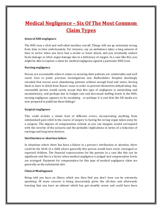 Medical Negligence Essay
