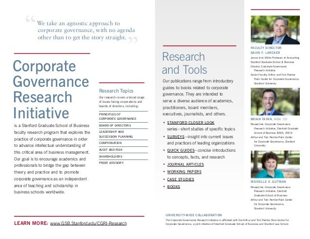 Research papers on corporate governance
