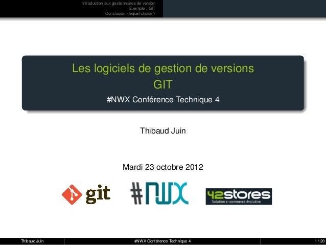 Introduction aux gestionnaires de version                                            Exemple : GIT                        ...