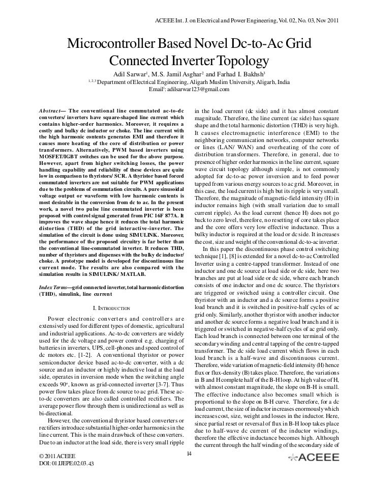 ACEEE Int. J. on Electrical and Power Engineering, Vol. 02, No. 03, Nov 2011            Microcontroller Based Novel Dc-to-...