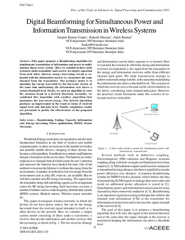 Digital Beamforming for Simultaneous Power and Information Transmission in Wireless Systems