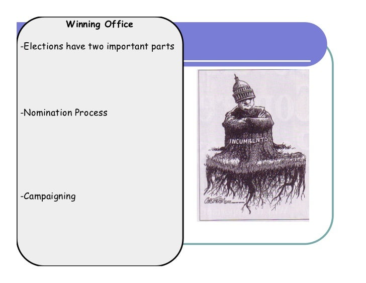 Winning Office-Elections have two important parts-Nomination Process-Campaigning