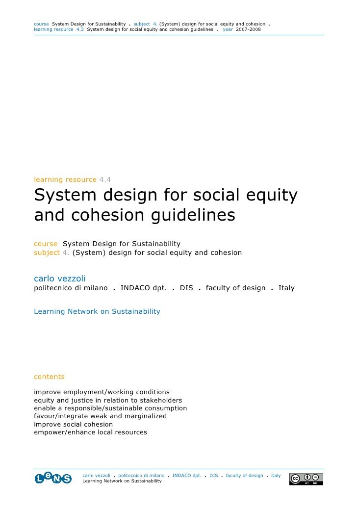 course System Design for Sustainability . subject 4. (System) design for social equity and cohesion . learning resource 4....