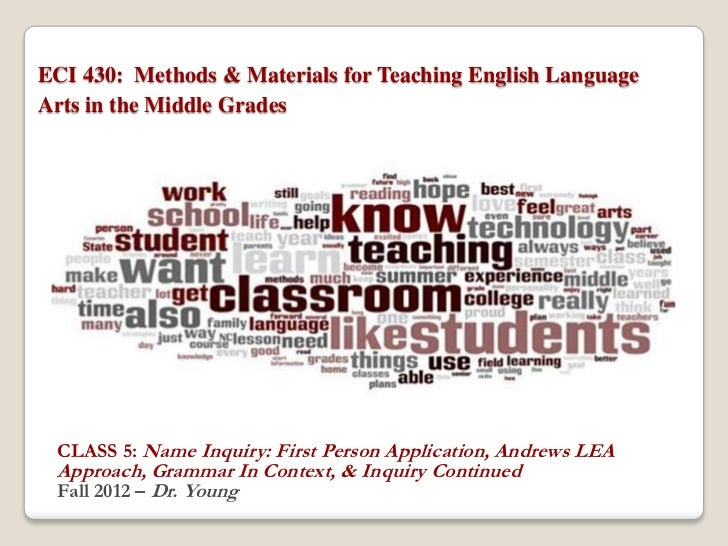 ECI 430: Methods & Materials for Teaching English LanguageArts in the Middle Grades CLASS 5: Name Inquiry: First Person Ap...