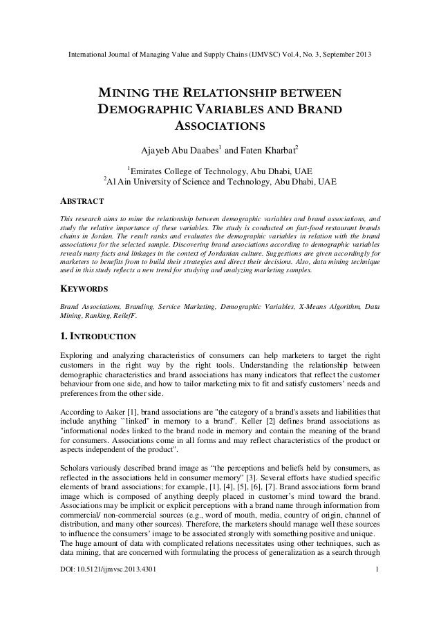 MINING THE RELATIONSHIP BETWEEN DEMOGRAPHIC VARIABLES AND BRAND ASSOCIATIONS