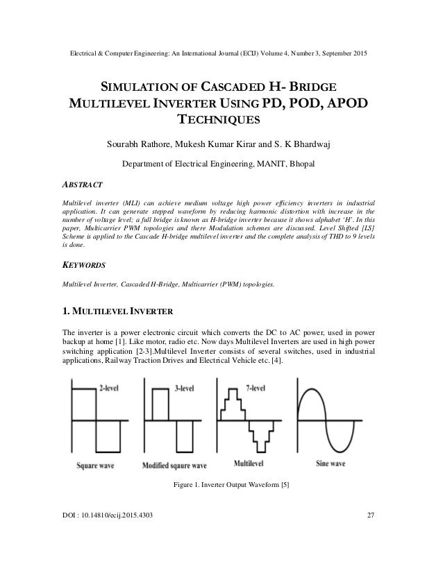 cascaded multilevel inverter thesis A review on various multilevel inverter  made a class of cascaded multilevel inverter  the switching angle calculation method that is used in this thesis is.