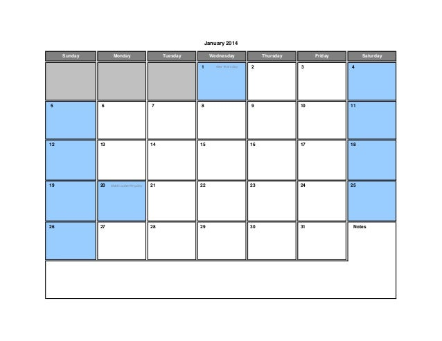 Calendar Templates 2014 with Holidays (USA / UK / Australia / Canada) for Excel
