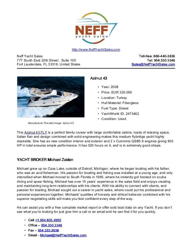 43' 2008 azimut 43 yacht for sale   neff yacht sales