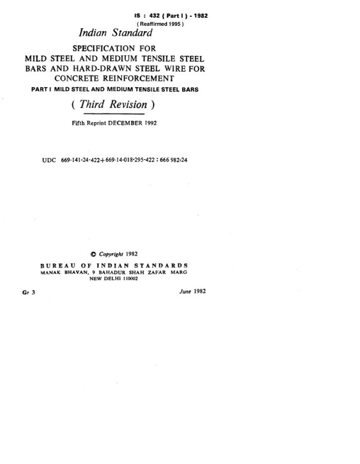 IS : 432(Partl)-1982                                               ( Reaffirmed 1995 )                     Indian Standard...