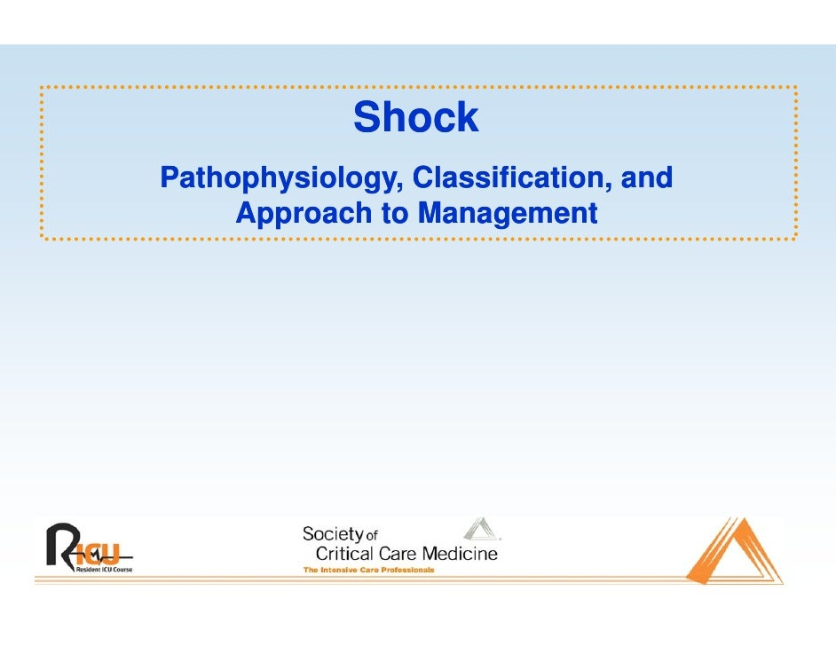 Shock Pathophysiology, Classification, and      Approach t M      A       h to Management  t