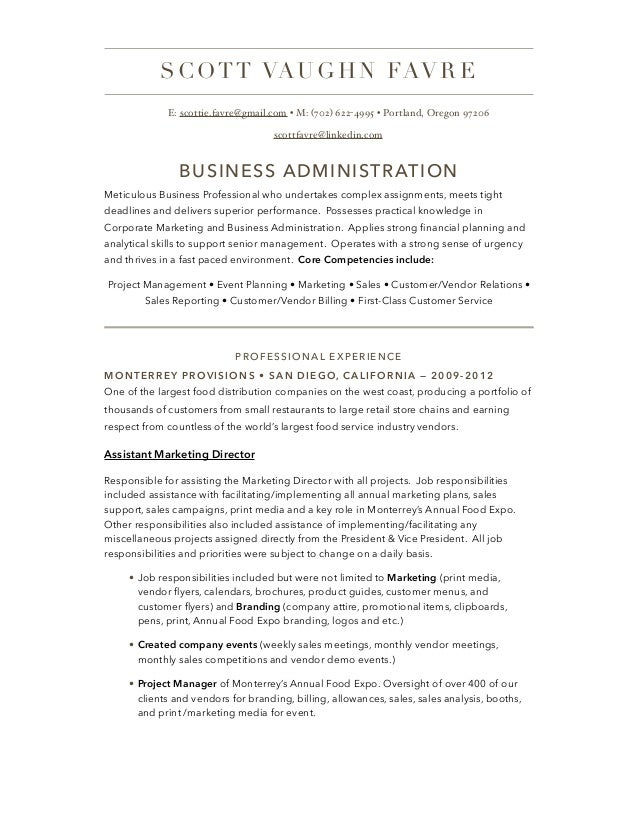 business management resume
