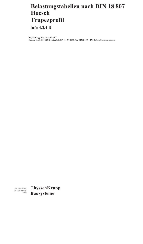 Belastungstabellen nach DIN 18 807                        Hoesch                        Trapezprofil                      ...