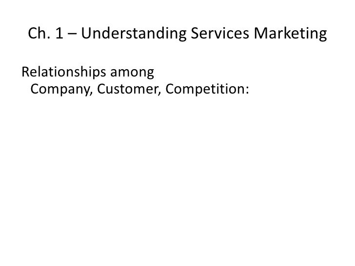 Ch. 1 – Understanding Services Marketing<br />Relationships among Company, Customer, Competition:<br />