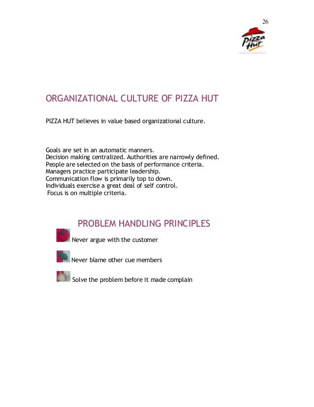 pizza hut organizational culture Free essay: 205km management and organizational behaviour report 1 title: approaches to management and organizational behaviour: pizza hut and mcdonald's.