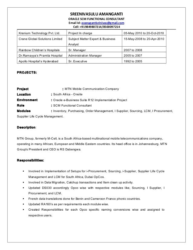 Techno functional consultant sample resume