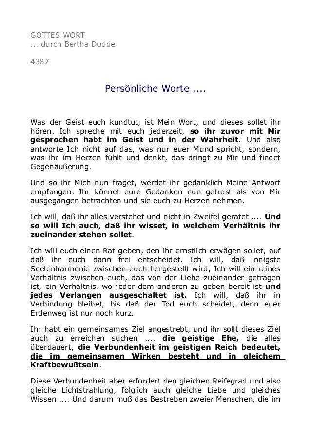 GOTTES WORT ... durch Bertha Dudde 4387 Persönliche Worte .... Was der Geist euch kundtut, ist Mein Wort, und dieses solle...