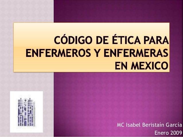 MC Isabel Beristaín García Enero 2009