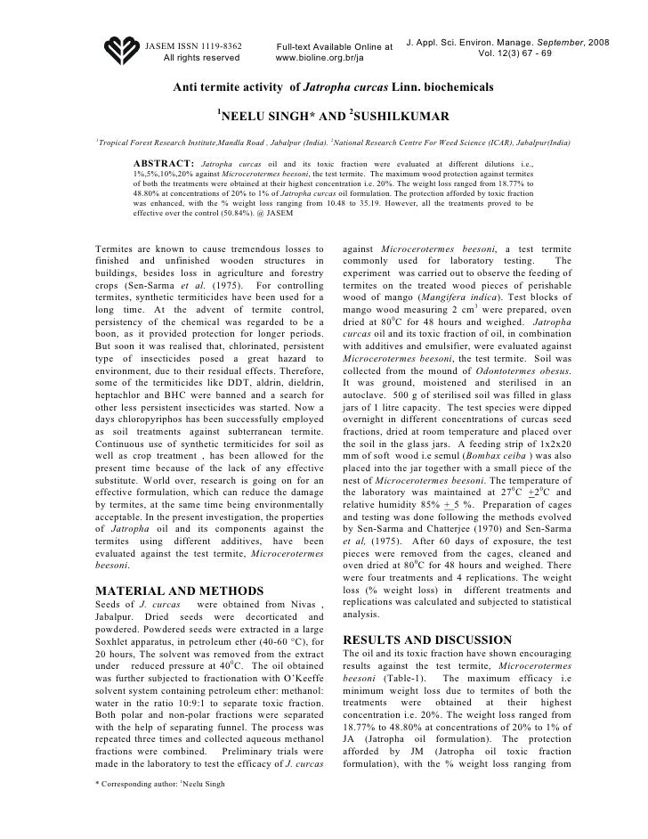 Anti Termite Activity of Jatropha Curcas Linn. Biochemicals