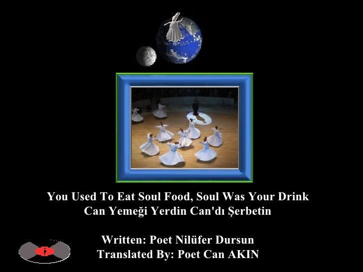 You Used To Eat Soul Food, Soul Was Your Drink  Can Yemeği Yerdin Can'dı Şerbetin  Written: Poet Nilüfer Dursun  Translate...