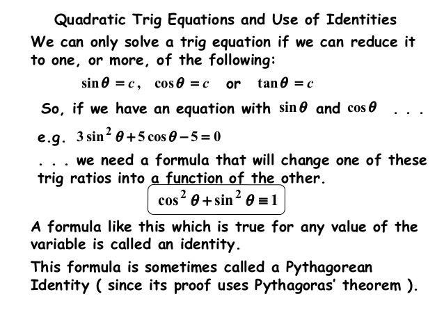 how to solve quadratic trig equations