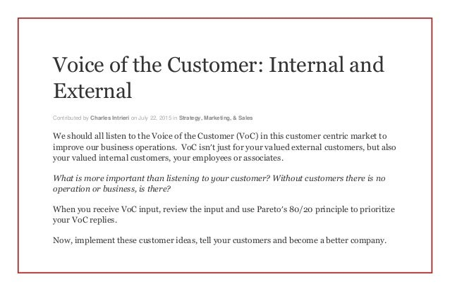 external customers Is customer satisfaction different for internal and external customers well, the short answer to that is a resounding yes but, the thing to consider is that these two concepts are.