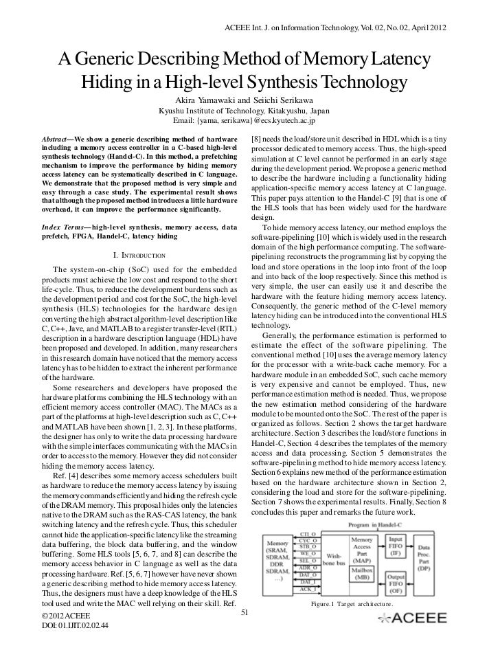 ACEEE Int. J. on Information Technology, Vol. 02, No. 02, April 2012     A Generic Describing Method of Memory Latency    ...