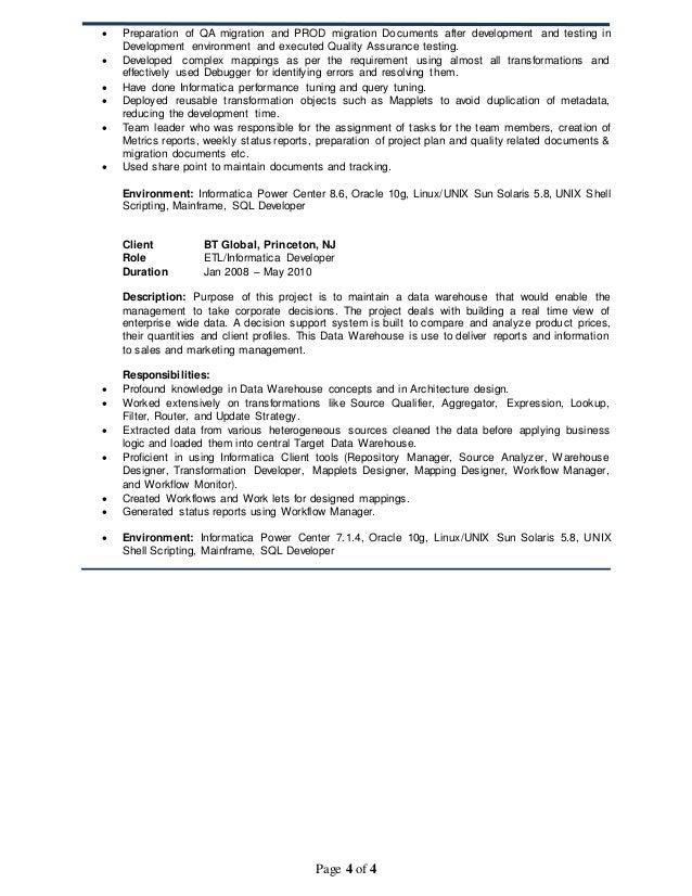 Data Warehousing Tester Resume Sample